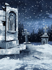 Ruiny starego cmentarza przykryte śniegiem