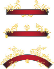 red ribbons with gold curls