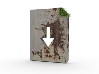 3d Icon Dokument Gras und Beton