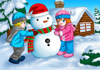 Illustration of children with a snowman