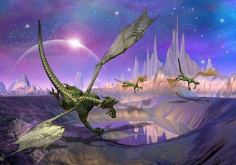 Photo sur Aluminium Dragons Dragons - Fantasy World 01