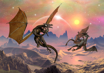 Photo sur Aluminium Dragons Dragons - Fantasy World 03