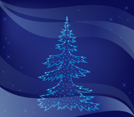 vector illustration - christmas tree on blue background