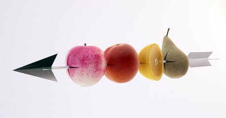 freccia mela pera obiettivo centro menu dessert