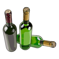 Three bottles with red and white wine