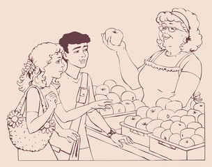 Vector drawing. Boy and girl bought apples