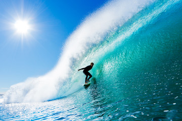 Wall Mural - Surfer on Blue Ocean Wave