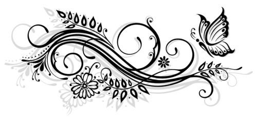 Ranke, flora, Blumen, Blüten, filigran, Schmetterling