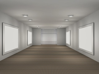 illustration of a gallery with 5 empty frames
