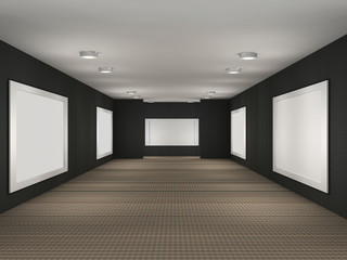 a illustration of a gallery with frames