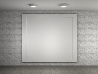 a illustration of a empty gallery with a big frame