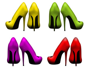 Women shoes collection, isolated on white