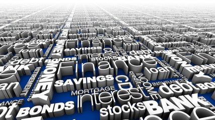 Financial Words Blue
