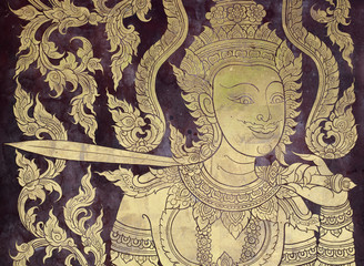 Ancien golden angel picture on the door in Thai temple.