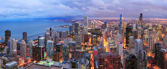 Self adhesive Wall Murals Chicago Chicago skyline panorama aerial view