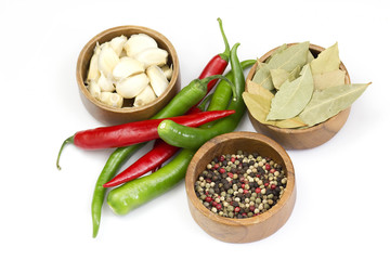 Red hot chili peppers, garlic and spices