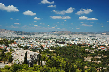 View of Athens roofs and Areipagus hill from Acropolis,Greece