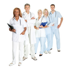 Group of doctors and surgeons isolated on white