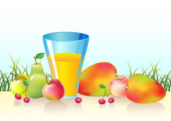 fresh fruits and glass of  juice