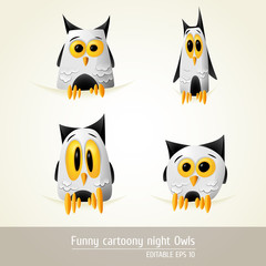 Funny Cartoony night owls | editable EPS 10 vector graphic