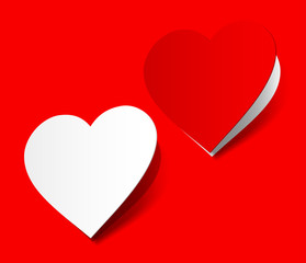 I love you heart sticker red  realistic shadow symbol