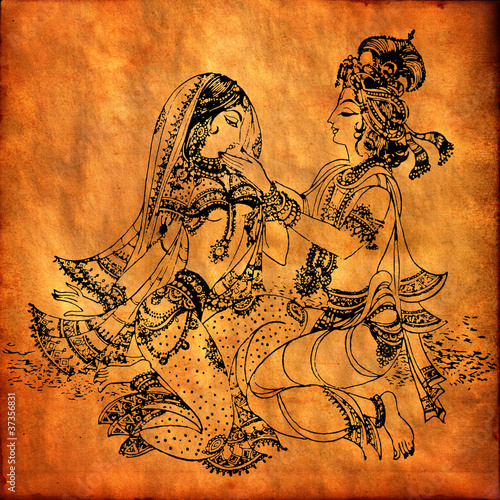 An old Radha Krishna painting