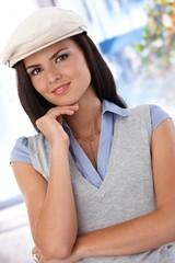 Portrait of attractive girl in hat