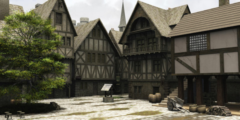 Fototapete - Medieval or Fantasy Town Centre Marketplace
