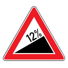 Papier Peint - Verkehrsschild - Steigung 12%