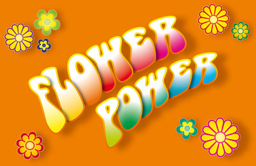 FLOWER POWER lettering with floral symbols on orange background. Illustration.