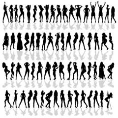 girl in various poses black vector silhouette