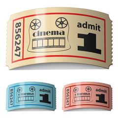 Fotobehang Vintage Poster vector 3d shiny curled cinema tickets