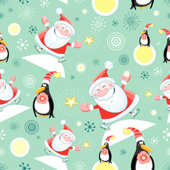 seamless pattern of Santa and Penguins