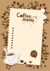 menu list for hot chocolate and coffee with a cup of coffee
