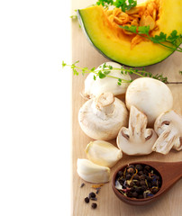 Mushrooms and kabocha pumpkin