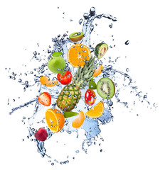 Wall Mural - Fresh fruit in water splash