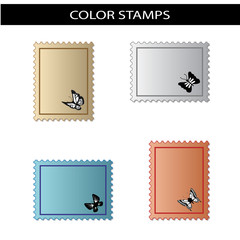 Vector stamps with butterfly