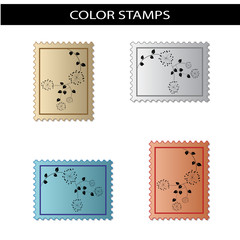 Vector stamps with flower design