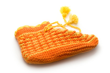 One bright sock on white