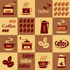 background with coffee icons