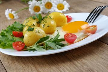 Fried egg with potato