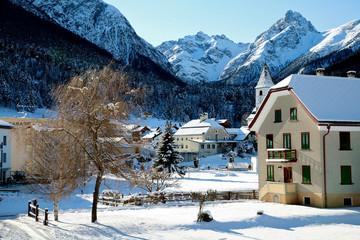 Swiss village in the winter Tarasp