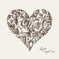 Fototapete - Heart of roses