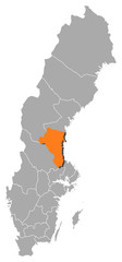 Map of Sweden, Gävleborg County highlighted