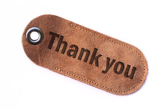 thank you leather tag , isolated.