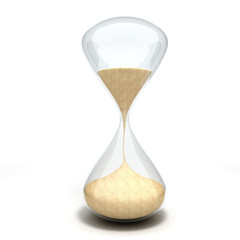 3d hourglass sandglass on white background