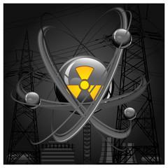 Atom background in black