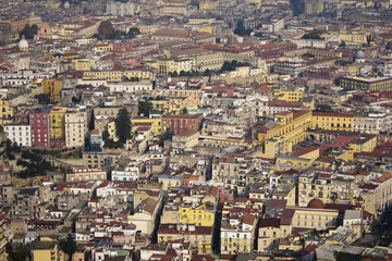 aeriel scenic view of naples city in italy