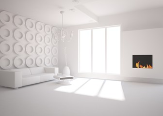 white minimal interior with fire