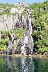 Trollfjord's waterfall